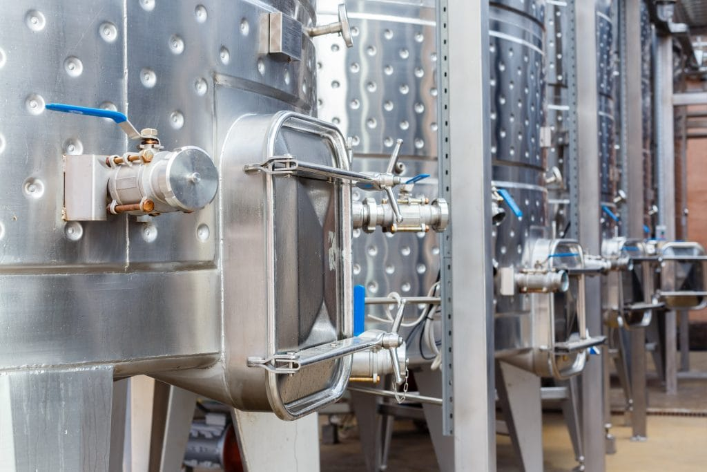 Stainless steel vats for Champagne base wine